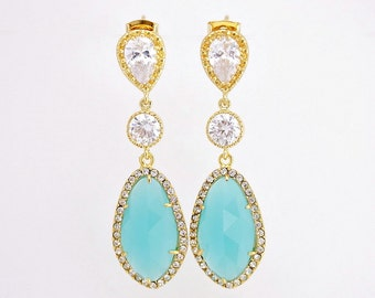 Wedding Jewelry Mint Bridal Earrings Wedding Earrings Gold Cubic Zirconia Posts with Mint Glass drops