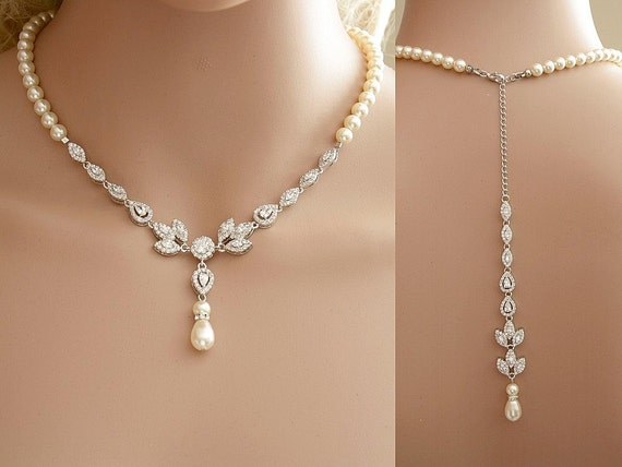 Bridal backdrop necklace cubic zirconia and pearl by for Cheap gold jewelry near me