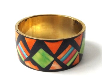 vintage 1960's brass & bone wide bangle bracelet real animal dyed inlay black orange green geometric metal womens accessories accessory old