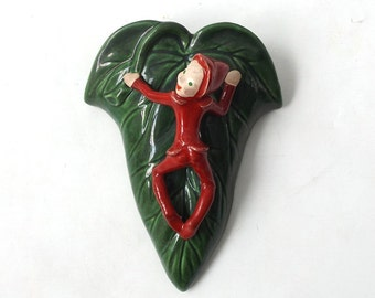 vintage 60s pixie wall pocket leaf green red elf imp mid century retro decorative home decor wall hanging flower pot kitsch ceramic pottery