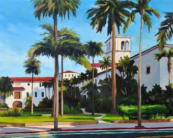 Large Oil Painting on canvas - Santa Barbara Courthouse 18x24 - Large Landscape Painting by Sharon Schock