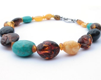 High fashion Jewelry Huge Stone Necklace Natural Gemstone Fine Jewelry Exclusive Necklace Yellow Blue Teal Brown