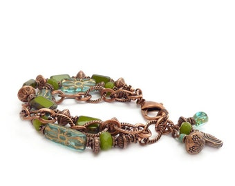 Copper Multi-Strand Green Jade & Aqua Bracelet - Boho Chain Bracelet - Picasso Glass - Gemstone Bracelet - Mother's Day Gift