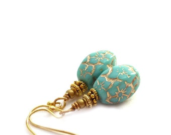 Turquoise and Gold Earrings - Czech Glass Beads - Short Drop Earrings - Aqua Gold Earrings - Mother's Day Gift