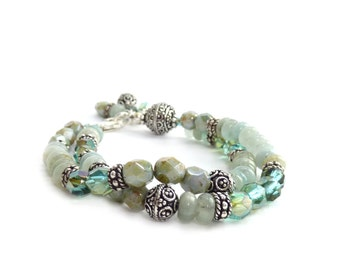 Aquamarine Bracelet - Pale Blue Multistrand Gemstone Bracelet - Silver Bali Beads - Czech Fire Polished Glass