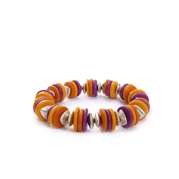 Mykonos Stacking Bracelet - Colorful Greek Beads - Mustard Yellow, Purple, Orange - Greek Beads - Bohemian Bracelet