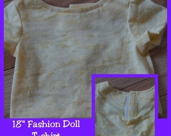 18 inch Fashion Doll Clothes - Shirt - Yellow