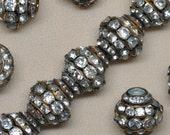 15 mm X 15 mm Vintage Rhinestone Brass Beads Large Classic 1 Piece