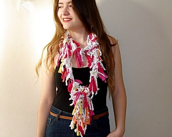 Pink T Shirt Scarf,Recycled  Eco Friendly Fringe  knotted Lariat Scarf, white  Cotton Scarf