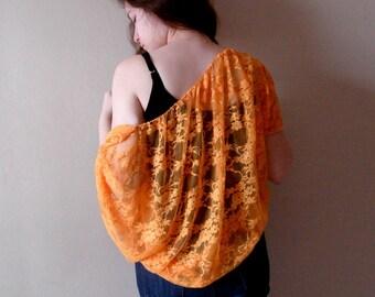 Orange lace shrug .oversize bolero. batwing lace wedding shrugs boleros