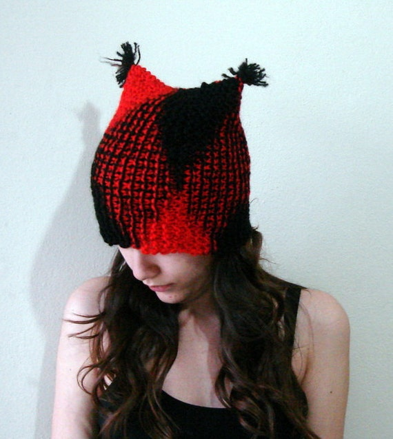 Black and red knit cat hat, Hand Knit Kitty Hat with skinny pompom hat