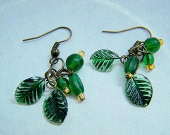 Green Leaf Cluster Glass Bead Dangle Earrings Doodaba