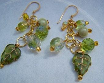 Green Leaves Bead Dangle Earrings Doodaba