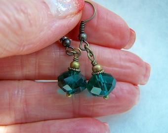 Turquoise Facet Glass Dangle Earrings Doodaba