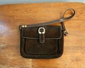 Vintage 1960s Dark Chocolate Brown Suede and Vinyl Purse  Handbag