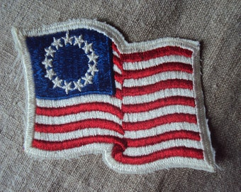 Vintage 70s American  Flag with Thirteen StarsSew On Patch