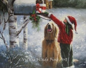 Christmas Brunette Girl Art Print santa hat, big dog, golden yellow dog, mailbox christmas present, red, country girl, Vickie Wade art