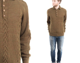 Vintage 1960s Mens HANDKNIT Sweater . Wool 60s Aran Cable Knit Brown Cozy Winter Jumper Pullover Boyfriend Christmas Gift . Small Medium