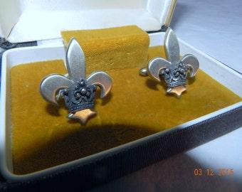 Cufflinks Fleur De Lis with Crown Vintage