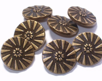 Pretty Metal Flower Buttons Antiqued Brass Color Set 7 Sewing Embellishment Buttons Metal Shank 18mm