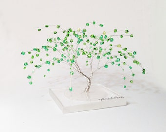 weeping willow wire art tree - silver wire green beads miniature wire tree statue - minimalistic home decor - green tree of life
