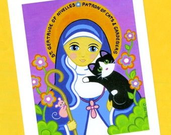 Saint GERTRUDE of Nivelles in Garden with CAT Blank Note CARDS - Set of 4 - By Jill
