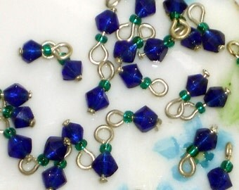 Vintage Glass Beads Drops Dangles NOS Emerald 8 Tiny Mini 5mm Cobalt Charms. #527A