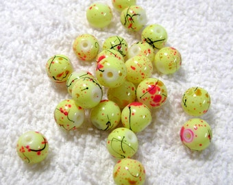 Bright Yellow Glass Beads - Speckled Beads - (24 Pcs) - (8mm) - B-1515
