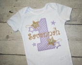 Twinkle Twinkle Little Star, Lavender and Aqua  Sparkle Birthday Shirt, Birthday Outfit-Cute Cake smash outfit