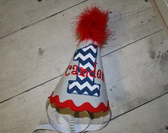 Navy and red chevron  First Birthday hat, Personalized Birthday Hat, Red, navy chevron Birthday Hat, Cake smash birthday hat