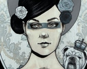 Giclée print by Andy McCready - 'BLUE BLOODED' - Limited edition, small, blue, bulldog. Prints by giltandenvy on Etsy.