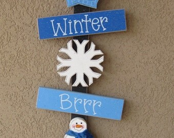 WINTER Thoughts, mittens, snowflake, snowman, wall, door, office, and home decor