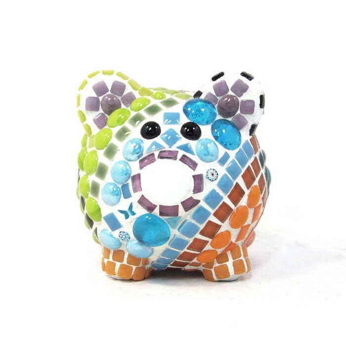 Piggy Bank Mosaic In Rainbow Colors For Babies Children