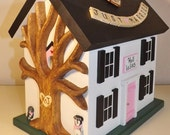 Small Wedding Card Box Birdhouse with Heart Carved Tree