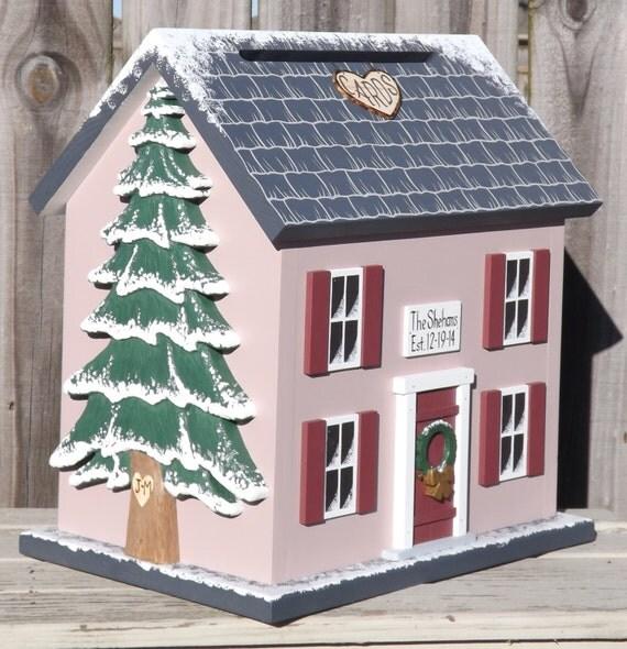 Winter Wedding Card Box Birdhouse Large By Mulberrylanefolkart