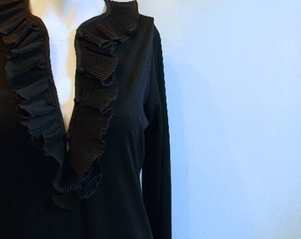 vintage. 60s Victor Costa Black Dress // S to M