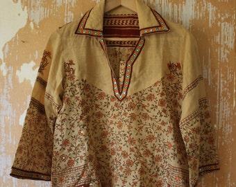 vintage. Cotton Bohemian Indian Tunic  // S to M