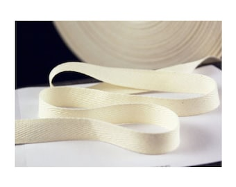 1/2 inch Wide Natural Cotton Twill Tape, Natural Twill Tape, THIN-WEIGHT Natural Cotton Tape for Crafting, Sewing, Stamping, Waterproof