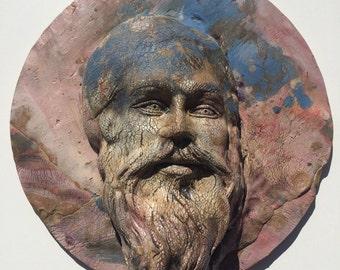 Bearded man sculpture portrait, yogi wall hanging art mask halo textured crackle face wizard
