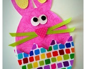 DIY Iron On Easter Bunny Applique -  Easter Bunny in a Cracked Egg Applique - Ribbon Whiskers included- [EBA06-] Pastel Pink Bunny