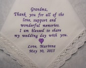 GRANDMOTHER Wedding Hankerchief Granny, Nana, Grandma Custom Hanky Grandma Wedding Gift Embroidered Handkerchief