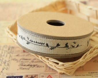 3m Life is Beautiful birds woven cotton linen Blended sewing tape ribbon