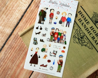 Here I Am cartoon diary scrapbooking HELLO EVA stickers set