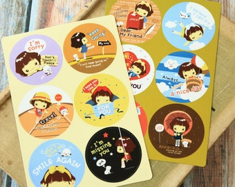 Cookys Girl Point stickers set