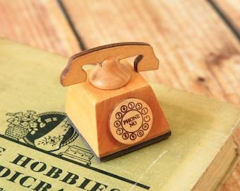 EIFFEL Mercerie de France mini TELEPHONE craft wooden rubber stamp