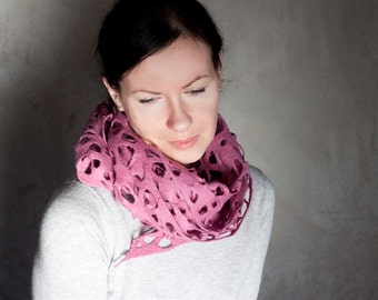 Orchid pink felted scarf, women purple lace wrap, winter shawl, soft merino wool wrap, women neck warmer, birthday gift for mother
