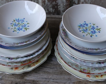 SALE! was 49/now 20 ~ vintage matched/mismatched china ~ set of 14 saucers