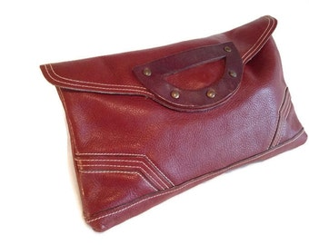 Vintage leather clutch, burgundy 1970's  Bag, Chunky layered Leather purse