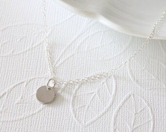 Rhodium Dot Necklace, Simple Necklace, Rhodium Plated Disc, Celebrity Inspired, Dainty Necklace, Everyday Jewelry