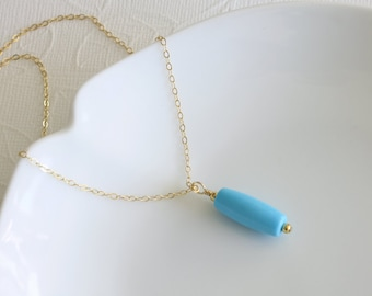 Turquoise Tube Necklace - Layered Necklace - Pendant  Necklace - Everyday Jewelry - Casual Necklace - Minimalist Necklace